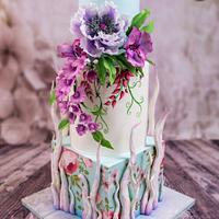 Many Flowers Wedding Cake