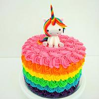 Rainbow Unicorn on a Rainbow Cake