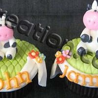 Noah's ark for Twin birthday cake & cupcakes by iriene wang
