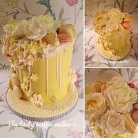 Diamond anniversary ,Lemon Macaron Drip Cake