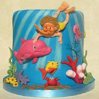 Underwater cake with pink dolphin