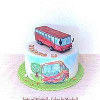 Hand painted bus cake ...