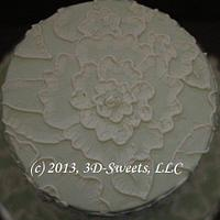 Brushed Embroidery Wedding Cake by 3DSweets