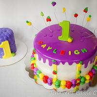 Tutti Fruity 1st Birthday Cake with Matching Smash Cake