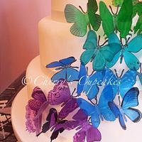 Rainbow Butterfly Cascade Wedding Cake by Cherry's Cupcakes