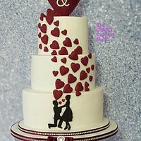 Heart plume engagement cake