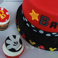 Mickey Mouse Inspired cake and Cupcakes by Jai Mobley