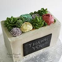 "Buttercream Succulents in ""Concrete"" for Teacher Appreciation"