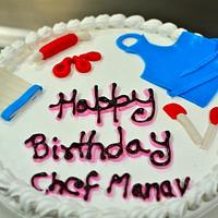 Chef Cake - Chef Hat, apron, measuring spoons and rolling pin