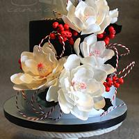 Ruby Red Berries and White Magnolias...