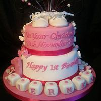 joint 1st birthday, christening cake by becsdreamcake