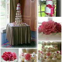 Pink Roses Cutting Cake & Cupcake Tower