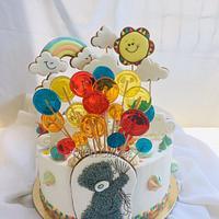 Cake with cookie pops ans isomalt lollipops