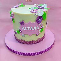 Ganached flower cake