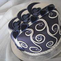 Purple Hearts & Blossoms Cake - Take 2