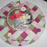 Patchwork Quilt and Sewing Basket by Raewyn Read Cake Design