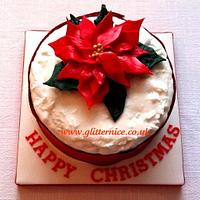 Red Poinsettia Christmas Cake