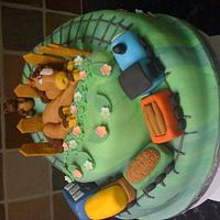 Children's horse and train cake