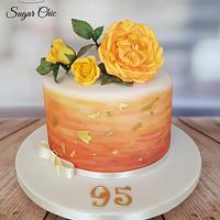 Watercolour & Roses Birthday Cake