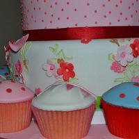Sarah Wedding Cake and Cupcakes by Tiers of Indulgence