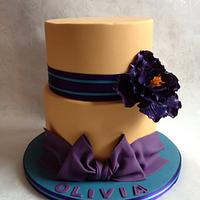 Orange and purple cake with open rose by Isabelle