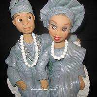 Cake topper - couple in the traditional attire (a touch of silver)