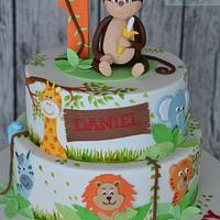 """Jungle"" 1st birthday cake"