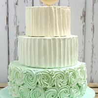 Sophie Mint Green Frosted Wedding Cake