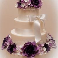 Purple Wedding Cake & Dessert Table