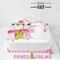 Engagement white cake