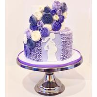 Buttercream Ruffle and Ribbon Rose Baby Shower Cake