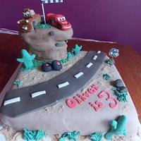 Disney Cars themed Birthday Cake