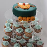 Owl cake and cupcake tower
