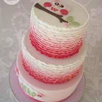 Owl ruffle christening cake