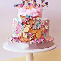 handpainted baby girl cake