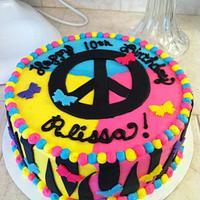 neon peace cake