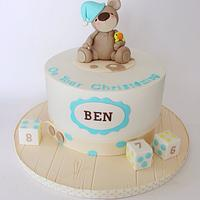 Sleepy teddy bear christening cake