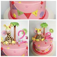 Girly giraffe cake by novita