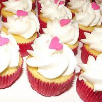 Mini pink hear cupcakes