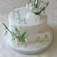 Snowdrop 70th birthday cake