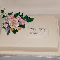 70th Floral birthday cake