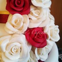 Burgundy & White Rose Cascade Wedding Cake by Cherry's Cupcakes