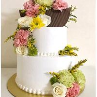 Fresh flower Whipped Cream Cake