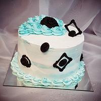 Elegant white&blue frames cake