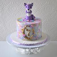 Purple Fox Birthday Cake