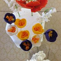 Red Poppy ,Mixed Crocuses,Open Peony and Lily of the Valley Gumpaste Flowers by SweetCreationsbyFlor