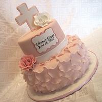 Pink Petal Baptism Cake
