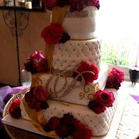 Gold Embelished Wedding Cake