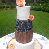 Wedding cake, blackboard and wood effect