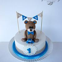 Bear first birthday cake